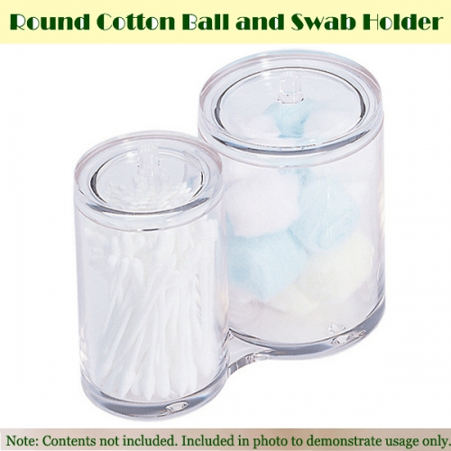 Transparent Round Makeup Cotton ball & Swab Holder   원형 화장솜통 면봉통